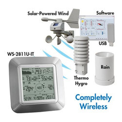 La Crosse Technology - La Crosse Technology Wireless Weather Pro Center Multicolor - WS-2811SAL-IT - Shop for Weather Instruments from Hayneedle.com! La Crosse Technology Wireless Weather Pro Center All FeaturesTime display in 12/24 hour time formatAutomatic time and date (PC time) update from USB transceiver if connectedCalendar display (date month year)Weather forecast with 3 weather icons (sunny cloudy and rainy) with weather tendency indicatorTemperature display in F/ C: from-39.8 F to 139.8 FHumidity display in RH%: from 1% to 99w point display in F/ C: from-39.8 F to 139.8 FWind chill display in F / C: down to -39.8 FMIN/MAX values of indoor/outdoor temperature indoor/outdoor humidity dew point display with time and date of recordingRelative air pressure reading in inHg/hPa: preset range 27.10 to 31.90 inHg24h/72h history graph selectableWind speed displayed in mph km/h m/s knots and Beaufort scale: 0 to 111.8 mphWind speed & direction with LCD compass display (16 steps/ 22.5 degree)MAX records for wind gust with time & date of recordingRainfall display in inch/mm: from 0 to 393.6 Rainfall data for total rain last hour last 24h last week last monthWeather alarm modes: temperature humidity wind gust wind direction air pressure 24h rain and storm warningBuzzer on/off selectLCD contrast settingStorage of 1750 sets of weather records with user selectable recording interval from 1 minute to 24 hours Weather history PC software:Stores collected weather data creates graphs synchronizes time/date updates user settings and sets weather alarmsWorks with Windows XP Vista Windows 7 Wireless USB transceiver:USB transceiver plugs into your PC to transfer and share the collected weather data from your weather display with your PCWireless rain sensor:Self-emptying bucketTransmission range: 164 feet (Open field free of obstructions) Wireless solar-powered wind sensor100% solar-powered with built-in rechargeable alkaline power cellHigh-efficient solar panels maintain operation 