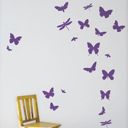 Butterflies Wall Stickers - Violet - With our decorative WallStickers, it is easy to create a new look and change the style of a room in a matter of minutes. Can be applied to all even and smooth surfaces. Will not stick to rough surfaces, such as brick walls etc.
