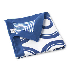 Oilo - Wheels Play Blanket, Cobalt Blue - Cobalt blue is a fresh baby style color and the combination of bold circles and stripes makes this blanket feel especially modern. You can never have too many baby blankets in rotation and this 40-by-50 version is perfect for spreading out on the living room floor or at the park for baby to play or rest on in high style.