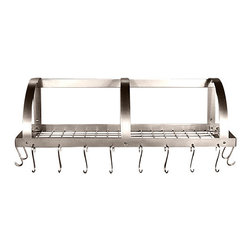 """HSM - 36-42 Inch Stainless Steel Wall Mounted Pot Rack With Optional Grid - Dimensions:  36""""- 42"""" W x 11"""" D x 10"""" H"""
