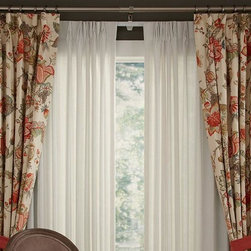 Traditional Floral Curtains & Draperies of Indianapolis- Custom Styles at Afford - These draperies are custom pleated and frame the windows perfectly.  They can be used with tie-backs or without and are a great way to 'soften' any space.