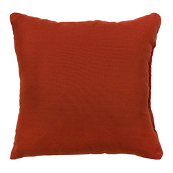 None - Red Outdoor Accent Pillows (Set of Two) - Add a touch of contemporary style and comfort to your outdoor furnishings with these accent pillows. These pillows are overstuffed with a soft 100-percent polyester fill and have a durable weather resistant and UV protected cover.