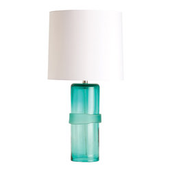 """Arteriors - Arteriors Topher Aqua Glass Table Lamp - Arteriors matches a fresh approach to design with handmade artistry and reliable craftsmanship. The Topher table lamp lends an artistic vibe to the room with a sleek, aqua blue base, accented by an irregular band and mounted on a clear acrylic base. Light fixture is topped by a white shade. Includes nikel-plated harp, 8' clear and silver cord and three-way switch for light variation. Accepts 150W max bulb (not included). 6.5"""" Diameter x 17.5""""H. Shade: 15"""" Diameter x 30""""H."""
