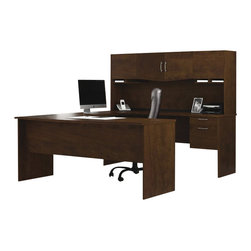 Bestar - Bestar Harmony U-Shape Wood Home office Set in Chocolate - Bestar - Computer Desks - 5241169 - This Bestar Harmony Work Station makes for a classic roomy workspace. With cabinets both overhead and below the large desk the Harmony Work Station has ample room for all your work station needs.