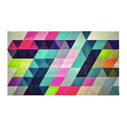 """Contemporary Colorful Geometric Shapes Rug, 72x48 - Using 100% woven polyester, these premium quality area rugs boast an exceptionally soft touch and high durability. Available in three versatile sizes (36""""x24"""", 60""""x36"""", 72""""x48"""") they are the perfect accent to any room in your home, featuring thousands of designs from your favorite artists on a subtle chevron pattern. Machine washable; non-skid pad not included."""