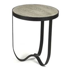 Kathy Kuo Home - Deco Industrial Modern Rustic Metal Round Side Table - This side table may be smaller in size, but its powerful in design. The dramatic pairing of its limed grey oak tabletop with its dark metal frame and the fluid curves of its base make this table an eye-catching addition to your urban loft or contemporary bedroom.