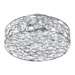 Dainolite - 4 Light Semi Flush Crystal Fixture, Polished Chrome - -Main Body Material: Crystal