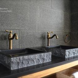 "BORNEO SHADOW 16""x16: BLACK GRANITE BATHROOM VESSEL SINK -"
