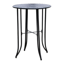 """International Caravan - International Caravan Iron KD 30"""" Round Bar Height Table in Antique Black - International Caravan - Pub Tables - 3467T/EP - The Mandalay Iron Bar Height Table is a national best seller. Easy to assemble and made form premium wrought iron. It comes complete with outdoor weatherproof protection and UV Light Fading Protection."""