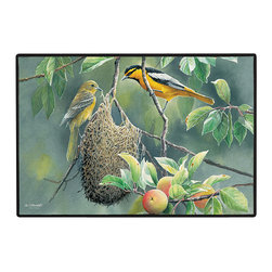 380-Northern Orioles Doormat - 100% Polyester face, permanently dye printed & fade resistant, nonskid rubber backing, durable polypropylene web trim on the porch or near your back entrance to the house with indoor and outdoor compatible rugs that stand up to heavy use and weather effects