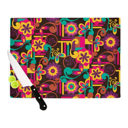 """Kess InHouse - Louise Machado """"Arabesque Floral"""" Bright Colorful Cutting Board (11.5"""" x 15.75"""") - These sturdy tempered glass cutting boards will make everything you chop look like a Dutch painting. Perfect the art of cooking with your KESS InHouse unique art cutting board. Go for patterns or painted, either way this non-skid, dishwasher safe cutting board is perfect for preparing any artistic dinner or serving. Cut, chop, serve or frame, all of these unique cutting boards are gorgeous."""