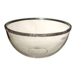 Alan Lee Collection - Princess Collection Salad Bowl - This large bowl is eleven inches in diameter and six inches deep. Perfect for a Salad of any kind or anything you can think of. Made of beautiful thick glass with hand applied cut crystal accents around the top outside edge.