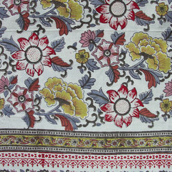 Anokhi - Hand Block Printed Tablecloth, Krakovi Vintage - Dress up the table for any occasion with this great hand block printed tablecloth. Made of substantial weight 100% cotton. Do not leave the tablecloth in the sun for extended periods.