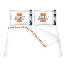 Sports Coverage - Sports Coverage NCAA Illinois Fighting Illini Microfiber Sheet Set - Twin - NCAA Illinois Fighting Illini Microfiber Sheet Set have an ultra-fine peach weave that is softer and more comfortable than cotton! This Micro Fiber Sheet Set includes one flat sheet, one fitted sheet and a pillow case. Its brushed silk-like embrace provides good insulation and warmth, yet is breathable. It is wrinkle-resistant, stain-resistant, washes beautifully, and dries quickly. The pillowcase only has a white-on-white print and the officially licensed team name and logo printed in team colors. Made from 92 gsm microfiber for extra stability and soothing texture and 11 pocket. Sheet Sets are plain white in color with no team logo. Get your NCAA Sheets Today.   Features:  -  92 gsm Microfiber,   - 100% Polyester,    - Machine wash in cold water with light colors,    -  Use gentle cycle and no bleach,   -  Tumble-dry,   - Do not iron,