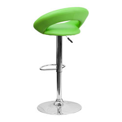 Flash Furniture - Flash Furniture Barstools Residential Barstools X-GG-NRG-118-SD - The orbit shaped support and round seat of this adjustable bar or counter stool is upholstered in a durable, easy to clean vinyl upholstery. The height adjustable swivel seat adjusts from counter to bar height with the handle located below the seat. The chrome footrest supports your feet while also providing a contemporary chic design. [DS-811-GRN-GG]