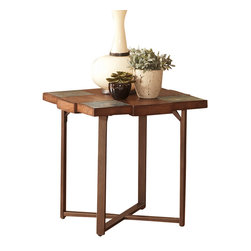 Steve Silver Furniture - Steve Silver Winchester Slate Top End Table with Gauge Metal Base - A smaller square version of the unique cocktail table.