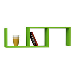 Decortie - DIBI WALL SHELF, Green - Simple and stylish, the Matte Dibi Wall Shelf, is a contemporary and angular design that is perfect for displaying your favorite books and objects. Featuring one compartment and two shelves, it is perfect for storing and displaying books, artwork and much more.