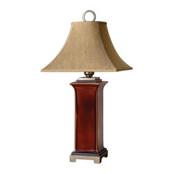 """Uttermost - Solano Glossy Russet Ceramic Table Lamp - Ceramic Base Finished In A Glossy, Burnt Russet Glaze With Dark Bronze Accents And Antiqued Silver Champagne Details. The Round Top, Square Bottom, Bell Shade Is A Golden Bronze Linen Fabric With Natural Slubbing. Dimensions: 17""""W X 17""""D X 34.5""""H; Finish: Ceramic Base Finished in a Glossy Burnt Russet Glaze with Dark Bronze Accents and Antiqued Silver Champagne Details; Bulbs: Uses Up To 150 Watt Bulbs (Not Included); Lampshade: Round Top, Square Bottom Bell Shade; Weight: 17 lbs; UL Approved"""