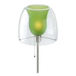 Lite Source - Double Glass Table Lamp - Green Inner Glass Shade - Double Glass Table Lamp - Green Inner Glass Shade