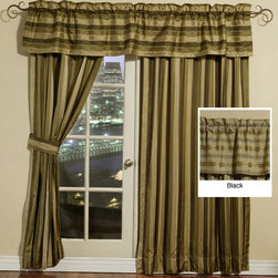 LCM Home Fashions - Silk Stripe Window Valance - These striped window treatments provide an appealing look to any room. Their copper colored stripes make a statement. They can be used to accent similar color schemes. Also use these valances to complement contemporary furnishings.