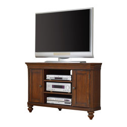 Hooker Furniture - Corner Entertainment Console 48 inch  1037-56488 - Two doors with one adjustable shelf behind each; two adjustable shelves in center section; one three plug outlet
