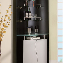 "Global Furniture - 7442 Corner Bar in Black/Silver - 7442 Bar in Black/Silver;Features: Shelf - Clear Glass;Top - Clear Glass;Back Panel - Color: Black , Material: MDF;Bar Cabinet - Color: Silver, Material: MDF;Leg Color/Material: Black/Silver with Plastic Legs, Rollers;Dimensions: L42"" x D17"" x H74"""