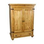 """Rustic Pine Entertainment Armoire - This rustic pine entertainment armoire has a large open area inside for your TV and features rustic iron drawer pulls and rustic iron hinges. Measures: 43"""" w x 25.5"""" d x 59"""" h. Shipping included."""
