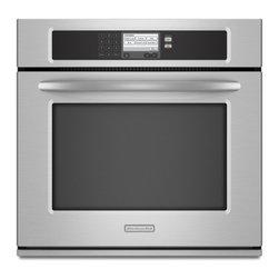 """KitchenAid - Architect Series II KEBU107SSS 30"""" Single Steam-Assist Electric Wall Oven with 4 - The dual-fan convection system consists of a hidden 2600-watt oven element and 2 round fans in the rear of the oven This combination promotes the most consistent heat distribution from the convection oven element thoughout the oven cavity Steam-assis..."""