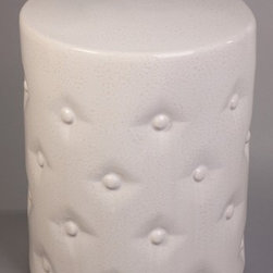 """Off-White Ceramic Garden Stool, """"Buttons"""" - With a button tufted look, this classic white garden stool is a lovely addition to any room."""