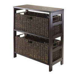 Winsome Trading, INC. - Winsome Granville 3-Piece Storage Shelf with 2 Large Baskets, Espresso - Granville Storage Shelf with Foldable Baskets is perfect to storage and organized your goodies. This set comes with open shelf and two large foldable baskets in chocolate color made from corn husk. Shelf assembled size is 25.220W x 11.22D x 29.21H. Shelf is made from combination of solid and composite wood. Foldable corn husk basket is 22.83W x 10.24D x 9.06H when open and folded is at 31.69W x 9.45D x 2.36H.