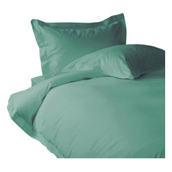 "300 TC Sheet Set 15"" Deep Pocket with Duvet Set Solid Aqua Blue, Cal-Queen - You are buying 1 Flat Sheet (90 x 102 inches), 1 Fitted Sheet (60 x 84 inches), 1 Duvet Cover (88 x 88 inches) and 4 Standard Size Pillowcases (20 x 30 inches) only."