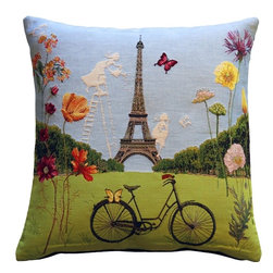 Pillow Decor Ltd. - Eiffel Tower in Spring Tapestry Throw Pillow - Allons-y! Get ready for a bike ride through Paris in its most beautiful season. With this vivid accent pillow, you can almost smell the baguettes baking nearby. Featuring lively blooms that frame the Eiffel Tower, this French tapestry pillow is a colorful ode to the City of Light.