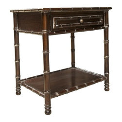 NOIR - NOIR Furniture - Bamboo Open Shelf Side Table - GTAB226, Hand Rubbed Brown - Features: