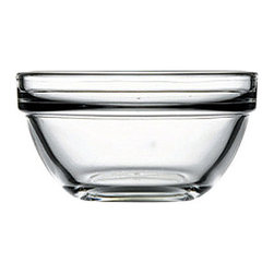 Hospitality Glass - 1.5H x 3.5T x 1.75B 4.25 oz Stack Bowl 24 Ct - 4.25 oz Stack Bowl