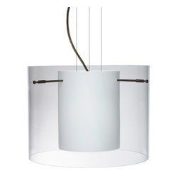 Besa Lighting - Besa Lighting 1KG-C00707-NI Pahu 1 Light Cable-Hung Pendant - The Pahu is a distinctive double-glass pendant, with an inner opal cylinder centered within a transparent outer glass. The clear blown glass is contemporary yet timeless, and will suit any classic or modern decor. When lit, the clear glass shimmers and sparkles with the accents from the light source. This blown glass combination is handcrafted by a skilled artisan, utilizing century-old techniques passed down from generation to generation. The cable pendant fixture is equipped with three (3) 10' silver aircraft cables and 10' AWM cordset, and a low profile flat monopoint canopy.Features: