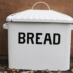 Enamel Metal Bread Box - Our enameled metal bread box will brighten up your counter in vintage style as it stores bread & treats. We won't tell it's where you stashed the cookies!