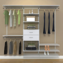 Organized Living - Organized Living freedomRail 7-foot White Wood Closet Kit - 7903730711 - Shop for Closet from Hayneedle.com! Clean up any room in your home basement or garage with the effortless and efficient Organized Living freedomRail 7-foot White Wood Closet Kit. This dynamic storage solution customizes to fit your needs with a unique design that adjusts without requiring any tools. Its sturdy wood and steel construction includes ten shelves two drawers a gliding chrome basket an O-Box Shelf Unit and four ways to hang garments and other items up and off the floor. About Organized LivingThe story of Organized Living begins as one may expect in a cluttered garage but surprisingly the company's origins are found in faucets and not shelving. Ninety-five years ago brothers George and John Schulte got their start making solid brass plumbing fixtures out of their dad's garage and turned their hard work into a business called The Schulte Brass Company. By the mid-1930s The Schulte Brass Company was recognized as an industry leader when it came to metal castings and copper nickel and chrome plating. By the 1960s The Schulte Brass Company was partnering with Delta Faucet Nutone Whirpool and other world renowned corporations but it wasn't until 1970 that the brand branched out into the ventilated shelving they're famous for today. Innovations in metal finishing thanks to the introduction of epoxy powder coating lead to a boom that reshaped The Schulte Brass Company into just SCHULTE and in 2013 to Organized Living a name that encompassed the entire home and emphasized their exceedingly popular line of storage and organization products.