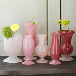 Frosted Rose Vase Collection - While these are sold separately, I like the idea of buying a few for an ombré display.