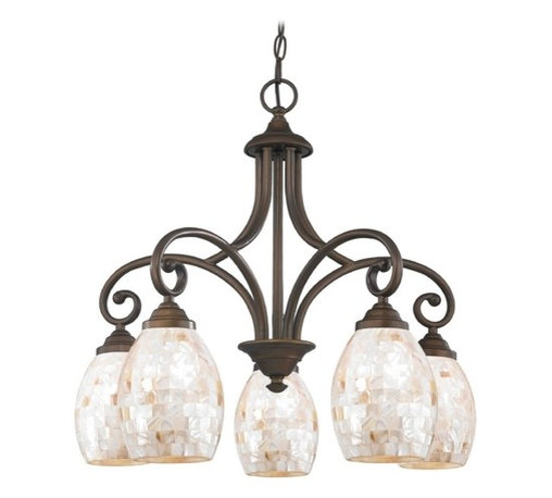 Design Classics Lighting - Chandelier with Beige / Cream Glass in Neuvelle Bronze Finish - 717-220 GL1034 - Country / cottage neuvelle bronze 5-light chandelier. Takes (5) 100-watt incandescent A19 bulb(s). Bulb(s) sold separately. UL listed. Dry location rated.