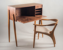 Cali Series Secretary - Drop front secretary desk in solid walnut with maple drawer and hand-turned white oak legs