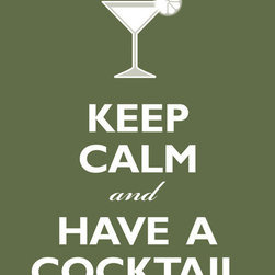 Keep Calm Collection - Keep Calm And Have A Cocktail, 11 x 14 giclee print (olive) - This item is an Art Print which means it is a higher-quality art reproduction than a typical poster. Art prints are usually printed on thicker paper, resulting in a high quality finish. This print is produced on a 270 gsm fine art paper stock.