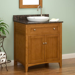 "30"" Halifax Bamboo Vanity for Semi-Recessed Sink - This bathroom vanity is made from environmentally friendly bamboo and has a functional two-door cabinet and an interior shelf."