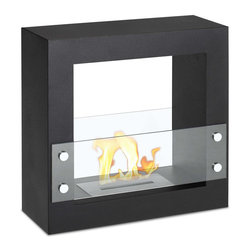 """Ignis - Tectum Mini Black Freestanding Ventless Ethanol Fireplace - Bring your room to life with the addition of this modern Tectum Mini Black Freestanding Ventless Ethanol Fireplace. This freestanding ethanol fireplace is ventless, and it requires no chimney, no gas line, and no electric line. It offers clean-burning heat that will keep your warm and cozy for hours with just one refill. Its sleek black design fits in well in your modern decor and keeps the look streamlined and contemporary. This mini fireplace takes up very little room, yet puts out a lot of heat, helping you create a welcoming environment for family and guests. It puts out an approximate 6,000 BTUs of clean-burning heat without any mess or fuss. Dimensions: 23.5"""" x 23.5"""" x 9"""". Features: Ventless - no chimney, no gas or electric lines required. Easy or no maintenance required. Freestanding - can be placed anywhere in your home (indoors & outdoors). Capacity: 1.5 Liters. Approximate burn time - 5 hour per refill. Approximate BTU output - 6000."""