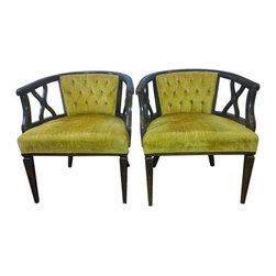 Used Hollywood Regency Tufted Barrel Back Chairs - Pair - A pair of vintage Hollywood Regency tufted barrel back chairs. The chairs feature original rich tufted yellow gold velvet upholstery and walnut finished wood frames with wood detailing on the sides of the chairs. The chairs are in vintage condition with normal wear. One chair needs the springs repaired, as you will see in the pictures.