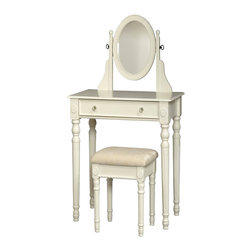 Linon - Linon Lorraine Vanity Set-White - Linon - Bedroom Vanities - 58010WHT01KDU - The traditional styling of the Lorraine White Vanity Set is highlighted by the intricately detailed spindle legs on the vanity and matching stool. Enjoy some much needed personal grooming space with this attractive white vanity and stool set. The vanity features an adjustable mirror generously sized drawer. The spacious table top has room for an array of cosmetics, jewelry, and beauty supplies. The vanity is complimented by a thickly padded and upholstered stool. Ideal for teens and adults. Some assembly required.