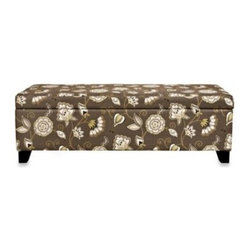 Angelo:home - angelo:HOME Kent Storage Bench in Vintage Cocoa Brown Floral - Modern meets vintage with this beautiful storage bench. Designed by Angelo Surmelis, this attractive storage bench combines modern lines with traditional details. It's also functional enough to sit against a wall and still let you easily open its lid.