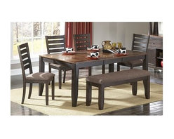 Homelegance - Natick 5-Pc Dining Table Set - Includes table and four side chairs. Bench sold separately. Modern look. Clipped corner top. Self-storing butterfly leaf. Made from acacia veneer. Espresso and light brown finish. Table minimum: 54 in. L x 42 in. W x 30 in. H. Table maximum: 72 in. L x 42 in. W x 30 in. H. Chair: 19 in. W x 23 in. D x 40 in. H