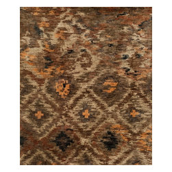"Loloi Rugs - Loloi Rugs Xavier Collection - Rustic Brown, 2'-0"" x 3'-0"" - The sumptuous Xavier Collection is distinguished by its plush feel and bright, bold color palette. Hand knotted with 100% jute from India, Xavier's large scale Ikat design offers sophistication that works as an incredible centerpiece for a variety of room settings."