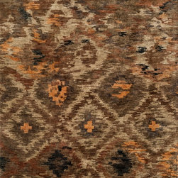"Loloi Rugs - Loloi Rugs Xavier Collection - Rustic Brown, 5'-6"" x 8'-6"" - The sumptuous Xavier Collection is distinguished by its plush feel and bright, bold color palette. Hand knotted with 100% jute from India, Xavier's large scale Ikat design offers sophistication that works as an incredible centerpiece for a variety of room settings."