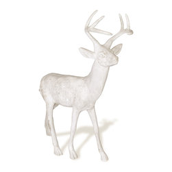 Amedeo Design, LLC - USA - Standing Stag Deer Statue - Our Stag Deer is beautifully stylized and crafted. Our deer can be statement pieces inside or out. Though they look like ancient European & Mediterranean designs in carved stone Made in USA.